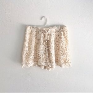 TCEC • High Rise Lace Crochet Shorts